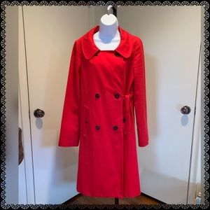 BURBERRY Red Scoopneck Double Flap Trench Coat